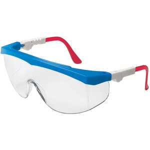 CREWS Glasses Tomahawk Safety Glasses, Clear Lens with Anti-fog Coating, Red, White and Blue Frames