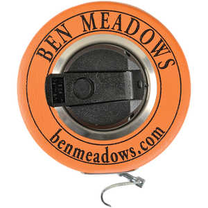 "Ben Meadows White Enameled Steel Diameter Tape, 10m/320cm, 3/8""W Claw Hook"
