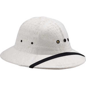 Double-Lacquered Straw Pith Helmet, White