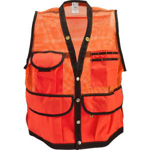 Jim-Gem 8-Pocket Nylon Mesh Cruiser Vest, Hi-Vis Orange, XX-Large, 46-49
