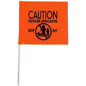 "Presco ""CAUTION PESTICIDE APPLICATION"" PVC Stake Flags, 4"" x 5"" x 24"", Bundle of 100"
