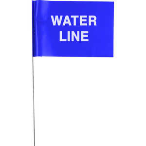 "Presco 21"" ""UNDERGROUND WATER LINE"" Stake Wire Flags, Bundle of 100"