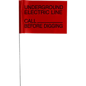 "Presco 21"" ""UNDERGROUND ELECTRIC LINE"" Stake Wire Flags, Bundle of 100"