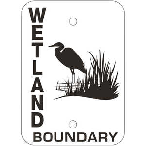 "Wetland Boundary Signs, Vertical, 7"" x 5"", Pack of 10"