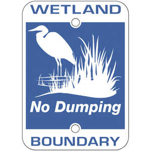 "Wetland Boundary - No Dumping Signs, 7"" x 5"", Pack of 10"
