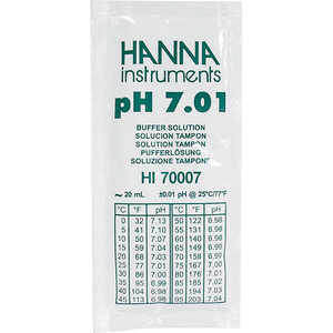 HANNA Liquid pH 7.01 Buffer Solution, 20mL Sachets, Pkg. of 25