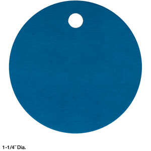 "Round Blue Anodized AluminumTags, Unnumbered, 1-1/4"" Dia., Box of 100"