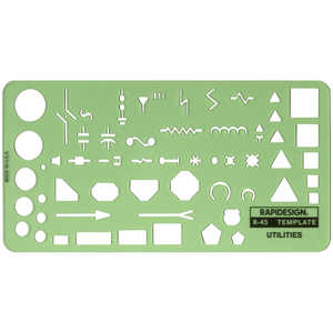 "Electric Utility Template, Transparent Green, 4""H x 8""L"