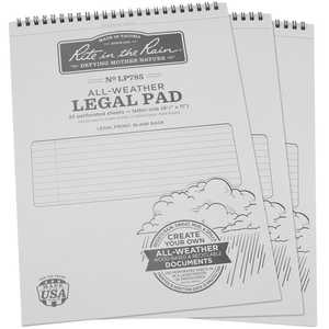 Rite in the Rain All-Weather Legal Pad, Pack of 3