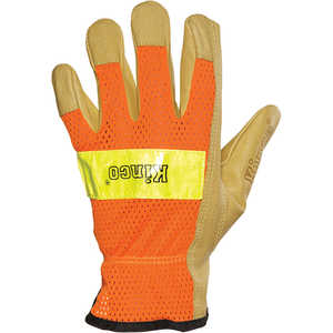 KINCO Pigskin Gloves Leather Drivers Gloves with Hi-Vis Back, Small