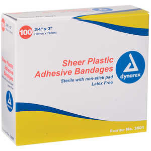 "Sheer Plastic Bandages, 3/4""W x 3""L, Pack of 100"