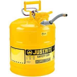 Justrite Type II AccuFlow Safety Can, Yellow (Diesel), 5-Gallon