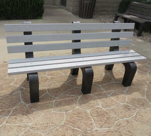 Traditional Park Bench, 4'L, Gray