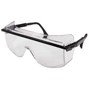 Uvex Astro OTG 3001 Protective Eyewear, Clear Uvextreme Anti-Fog Lens, Black Frames
