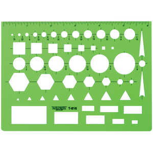 "C-THRU General Purpose Template, Transparent Green, 4-1/2""H x 6""L"