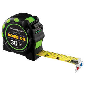 Komelon Monster MagGrip 30'L Tape Measure, Printed one side ft., in., and 16ths