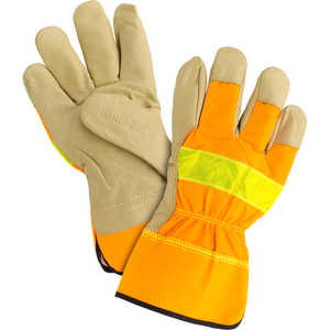Kinco Unlined Grain Pigskin High-Visibility Gloves, Orange, Large