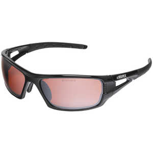 Elvex Impact 400 Series Safety Sunglasses, Black Frame, Mirror Blue Blocker HC Lens