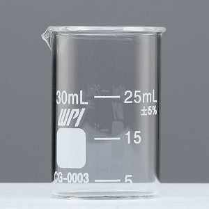 Griffin Graduated Glass Beakers, 30 ml Capacity, 10 ml Graduations, 5 ml to 25 ml Graduation Range, Pack of 12