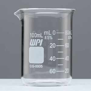 Griffin Graduated Glass Beakers, 100 ml Capacity, 10 ml Graduations, 20 ml to 80 ml Graduation Range, Pack of 12