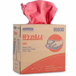 Kimberly-Clark WypAll Wipers X80 Wipers, Red, Pop-Up Box