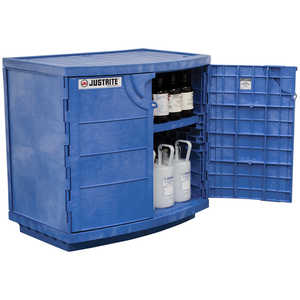Justrite Polyethylene Corrosive Chemical Cabinet, 2-Door, 125 lb. Shelf Load