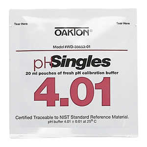 Oakton pH Calibration Singles, pH 4.01, 20 ml Pouches, Box of 20
