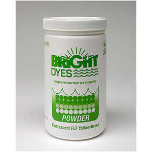 Bright Dyes FLT Fluorescent Yellow/Green Biodegradable Dye, Powder, 1 lb. Package