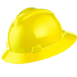 MSA V-Gard Hat w/Ratchet, Yellow