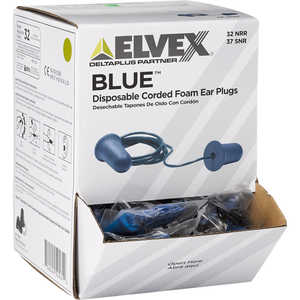 Elvex Blue PVC Earplugs, Corded, Box of 100 pairs