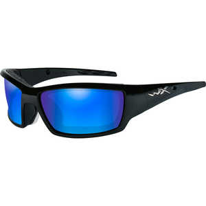 Wiley X Tide Safety Glasses, Matte Black Frame with Polarized Blue Mirror Lens