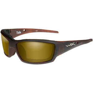 Wiley X Tide Safety Glasses, Matte Hickory Frame with Polarized Gold Mirror Lens