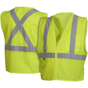 "Pyramex ANSI Class 2/CSA Z96 Mesh Safety Vest, Lime, XX-Large, 52""-54"" Chest"
