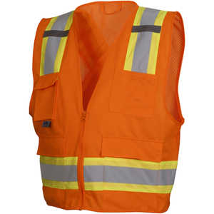 "Pyramex ANSI Class 2/CSA Z96 Two-Tone Mesh Safety Vest, Orange, X-Large, 48""-50"" Chest"