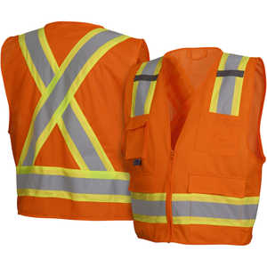 "Pyramex ANSI Class 2/CSA Z96 Two-Tone Mesh Safety Vest, Orange, XXX-Large, 56""-58"" Chest"
