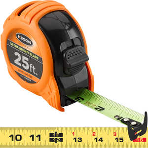 "Keson® Ultra Bright Blade Measuring Tape – Model PG1825UB, 25'L x 1""W"