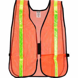 Mesh Safety Vest with Gloss Reflective Tape, Orange