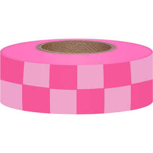 Checkered PinkGlo/White Flagging, 150'