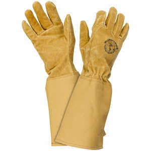 Womanswork Pigskin Gauntlet Gloves with Canvas Cuff, Small
