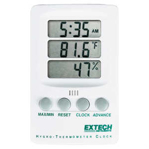 Extech Thermo-Hygrometer Max-Min Clock