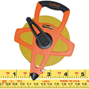 Lufkin 328'L (100m) Hi-Vis Orange Linear Tape Measure, m, cm, in. and 8ths