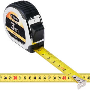 "Keson Standard Series Chrome-Plated Measuring Tape - 3m L x 15mm (5/8"")W, Metric"