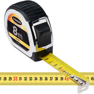 Keson Standard Series Chrome-Plated Measuring Tape - 8m L x 25mm (1˝)W, Metric
