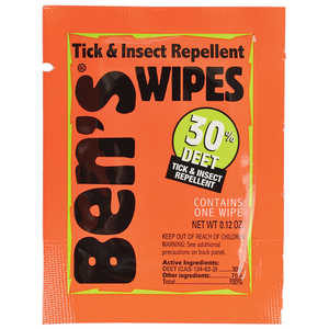 Ben's 100, 30 Tick and Insect Repellent, Wipes, Pkg. of 12