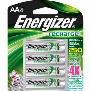 Energizer NiMH Batteries, AA Cell, Rechargeable, 4 Pack