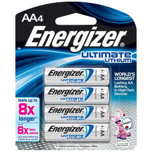 Energizer Lithium Batteries, AA Cell, 4 pack