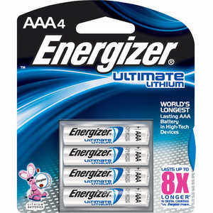 Energizer Lithium Batteries, AAA Cell, 4 pack