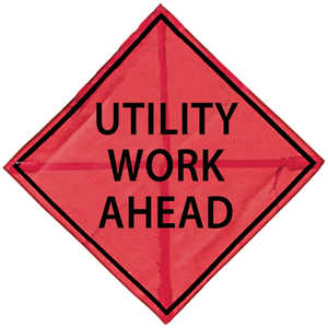 "48"" x 48"" Mesh Sign, ""UTILITY WORK AHEAD"""