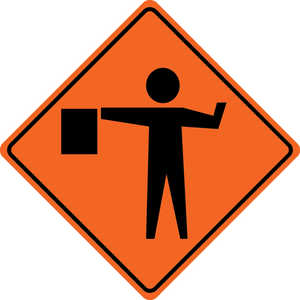 48˝ x 48˝ Solid Sign, Flagman Symbol