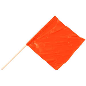 "High-Visibility Fluorescent Safety Flag, Limp w/30""L Wooden Dowel Staff"